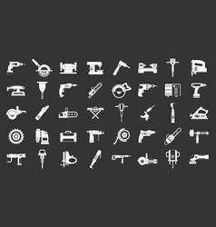 electric tools icon set grey vector image