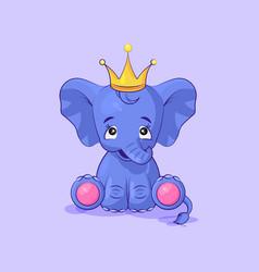 Elephant calf happy and contented sticker emoticon vector