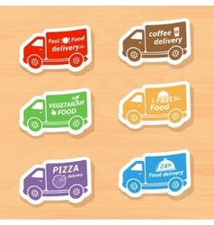 Fast food delivery car labels vector