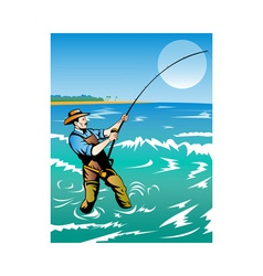 Fisherman surf casting vector