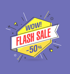 Flash sale banner template in flat trendy memphis vector