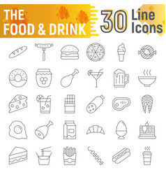 Food and drink thin line icon set meal symbols vector