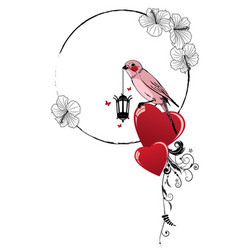 frame with bird lamp and heart vector image