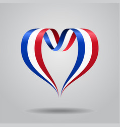 French flag heart-shaped ribbon vector