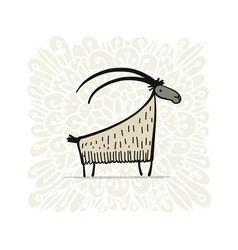 funny goat simple sketch for your design vector image