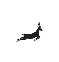 Gazelle silhouette jump black antelope run vector