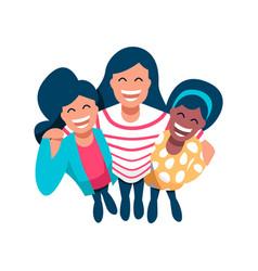 Girl friend group of diverse happy women vector