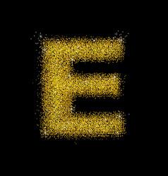 Gold dust font type letter e vector