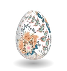 Gold egg with hand draw floral ornate isolated on vector image