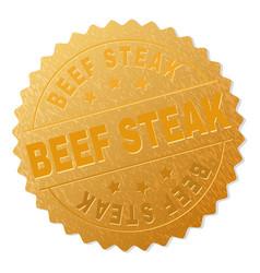 golden beef steak medallion stamp vector image