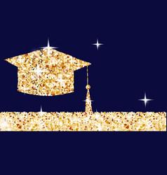 Golden graduation cap horizontal banner gold vector
