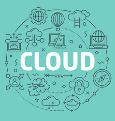 Green line flat circle cloud vector