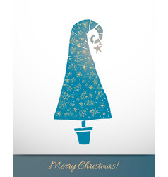 greeting card with turquoise christmas tree vector image