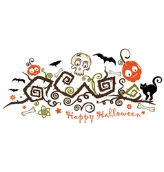 halloween creepy plant with pumpkins vector image