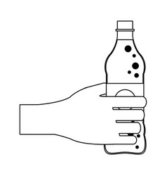 hand with soda bottle black and white vector image