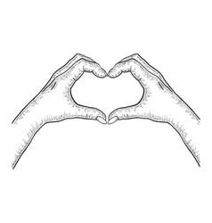 Hands making heart sign sketch engraving vector