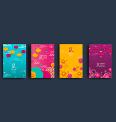 happy chinese new year rat set cards vector image