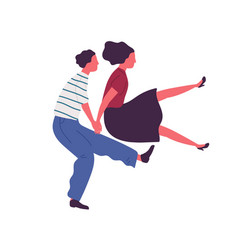 Happy couple jumping dancing together holding vector