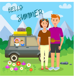 hello summer square banner parents and kids travel vector image