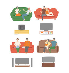 home relaxation people watching television evening vector image