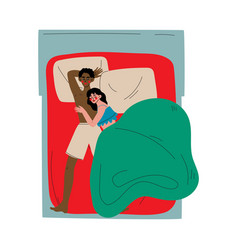 interracial couple sleeping together in bed vector image