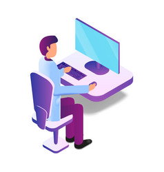 Isometric male doctor using computer vector