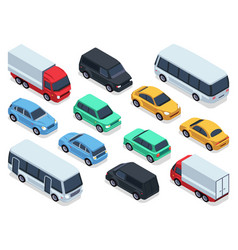 Isometric vehicles and cars for 3d city traffic vector