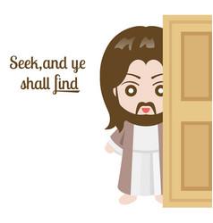jesus christ and door vector image