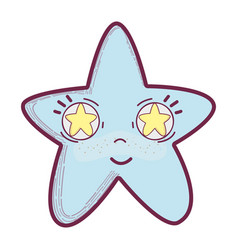 Kawaii happy star with stars inside eyes vector