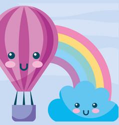 Kawaii hot air balloon cloud rainbow cartoon vector