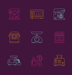 Kitchen appliances linear icon set vector