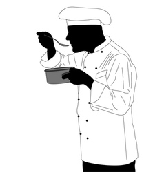 kitchen chef tasting sauce vector image