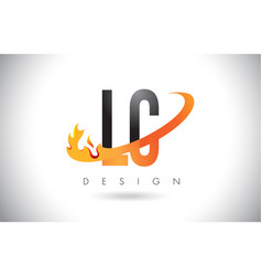 Lc l c letter logo with fire flames design and vector