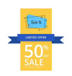 Limited offer 50 off sale with inscription vector