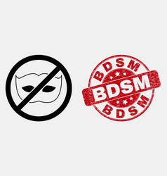 Line stop privacy icon and grunge bdsm seal vector
