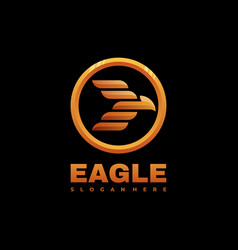 Logo eagle gradient line art style vector