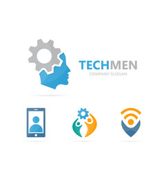 Man and gear logo combination face and vector