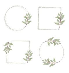 minimal hand drawn eucalyptus wreath frame for vector image