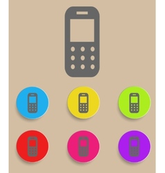 Mobile phone - icon with color variations vector image