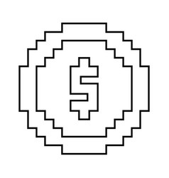 money coin pixel dollar currency vector image