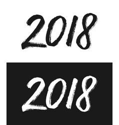 New year 2018 greeting card in black and white vector