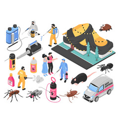 pest control isometric set vector image