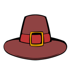 pilgrim hat icon cartoon vector image