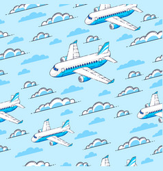 planes seamless background airlines air travel vector image