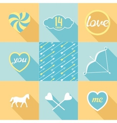 Pop-art set symbol of love vector image