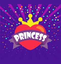 princess heart and crown ribbon and confetti vector image