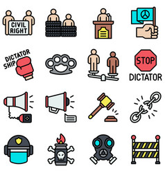 Protest related icon set 2 filled style vector