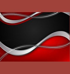 red and silver and black color geometric wave vector image
