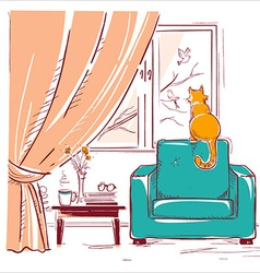 Red cat watching birds near the windowInterior vector image