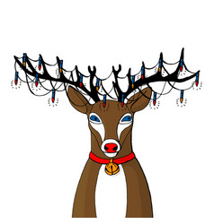reindeer with big black horns and red collar with vector image